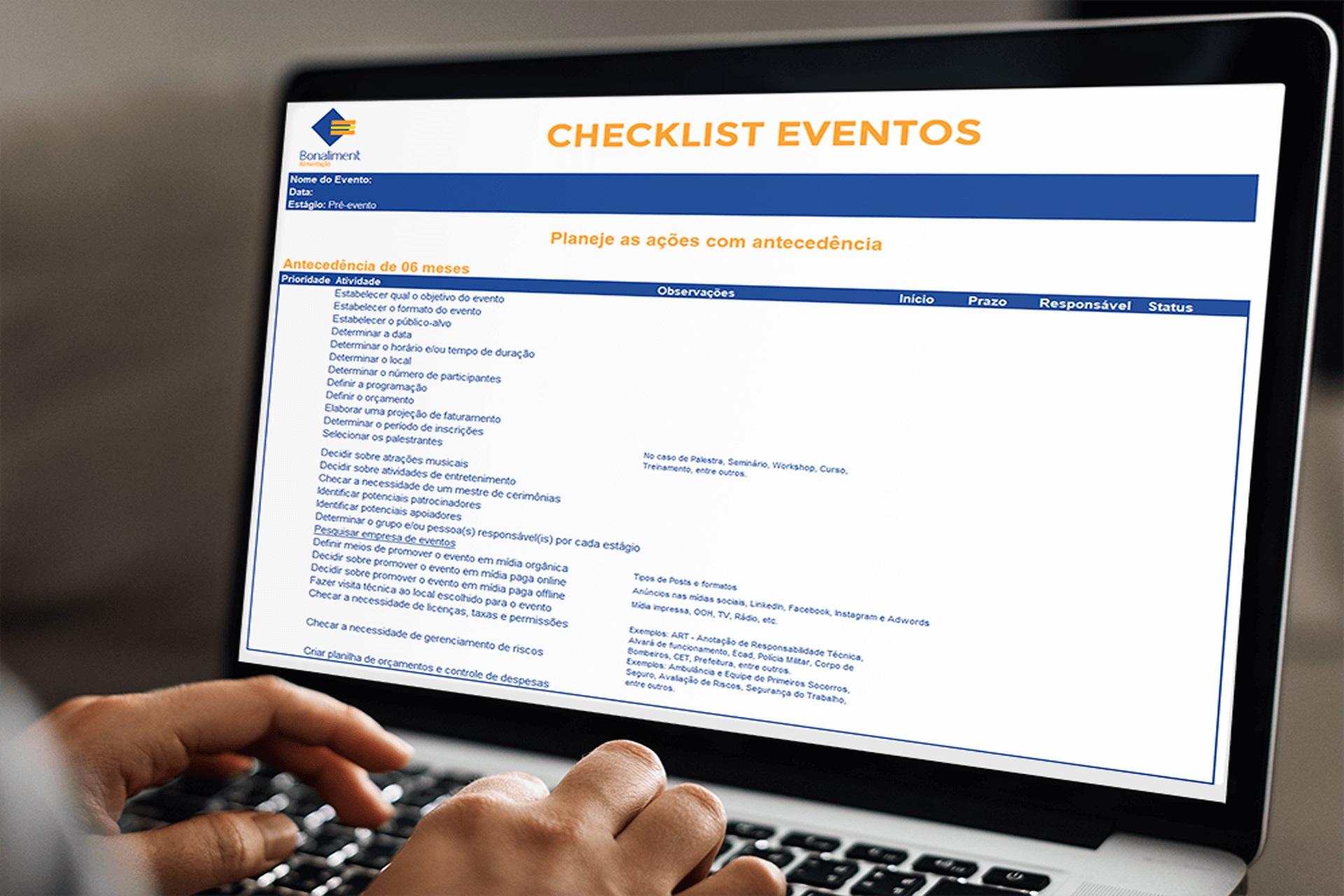 Bonaliment - Checklist de Eventos Corporativos